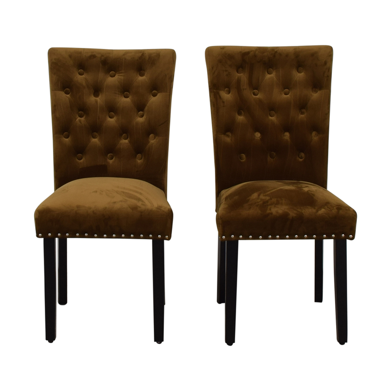 buy House of Hampton Tufted Copper Brown Dining Chairs House of Hampton
