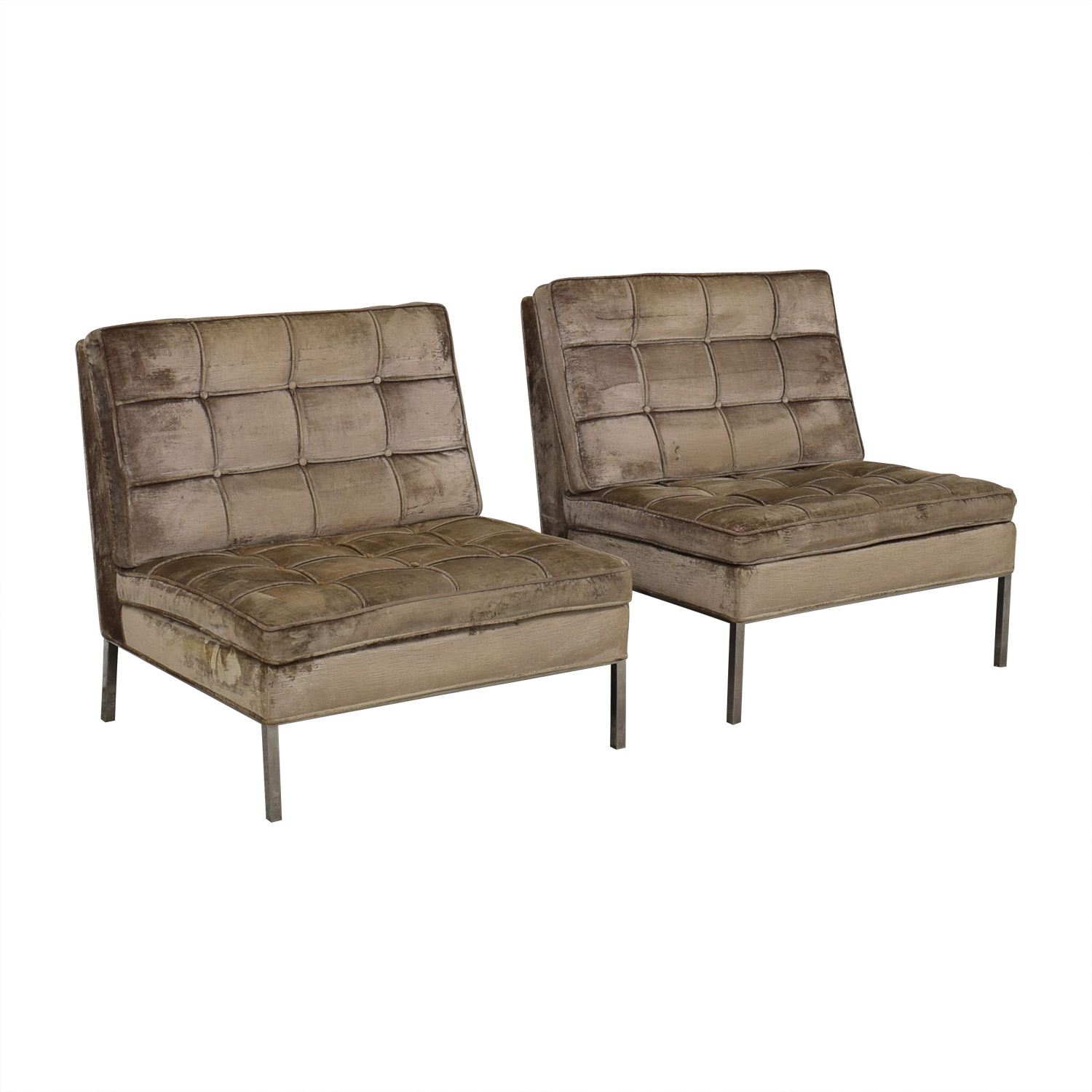 buy Knoll Knoll Beige Tufted Velvet Accent Chairs online