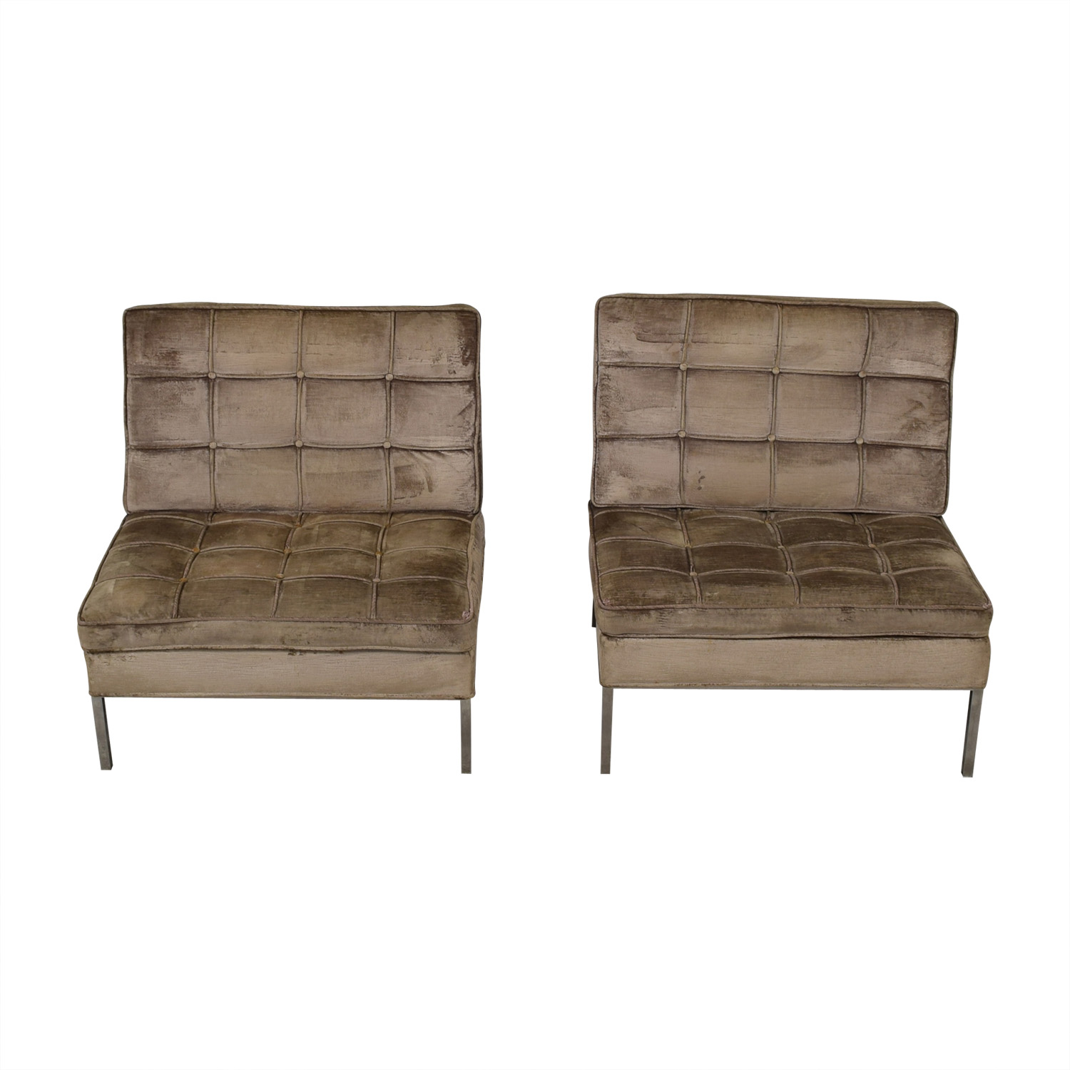 Knoll Knoll Beige Tufted Velvet Accent Chairs for sale