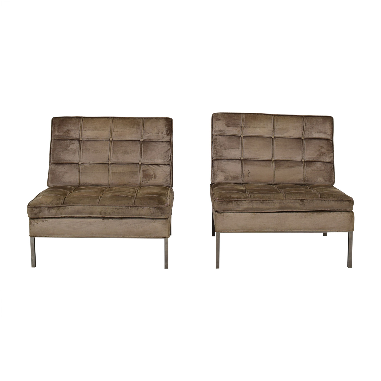 Knoll Knoll Beige Tufted Velvet Accent Chairs second hand