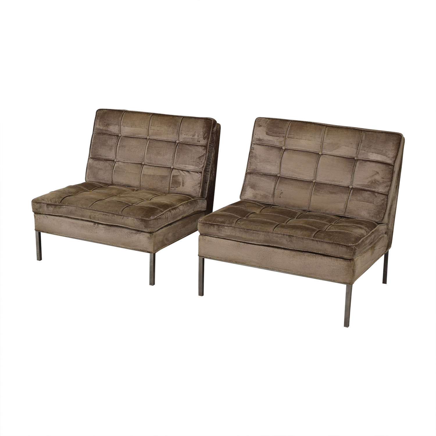 shop Knoll Knoll Beige Tufted Velvet Accent Chairs online