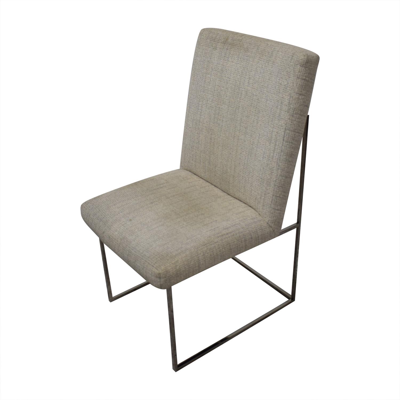 Thayer Coggin Thayer Coggin Burl Dining Set with Design Classic Dining Chair by Milo Baughman white