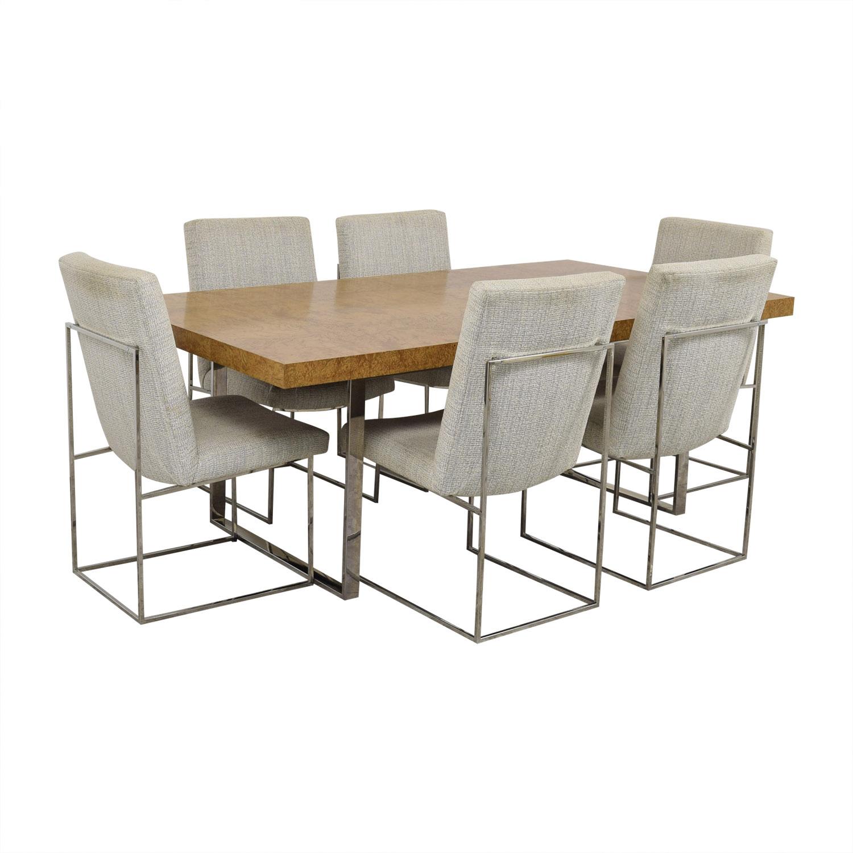 Thayer Coggin Thayer Coggin Burl Dining Set with Design Classic Dining Chair by Milo Baughman price