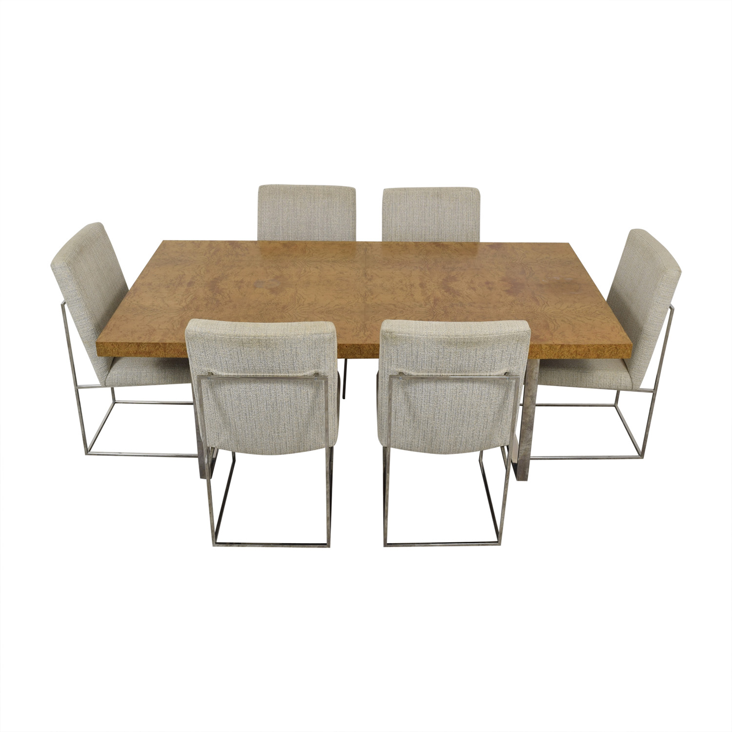 Thayer Coggin Thayer Coggin Burl Dining Set with Design Classic Dining Chair by Milo Baughman dimensions