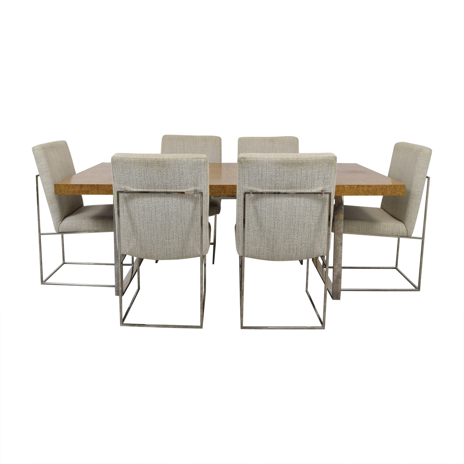 shop Thayer Coggin Thayer Coggin Burl Dining Set with Design Classic Dining Chair by Milo Baughman online