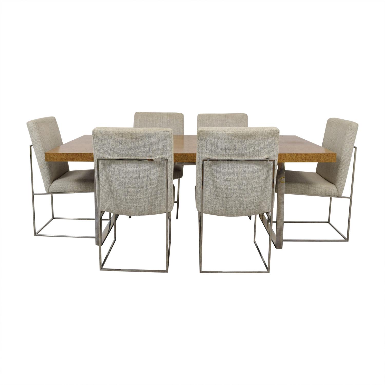 shop Thayer Coggin Thayer Coggin Burl Dining Set with Design Classic Dining Chair by Milo Baughman online