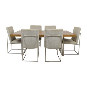 Thayer Coggin Burl Dining Set with Design Classic Dining Chair by Milo Baughman Thayer Coggin