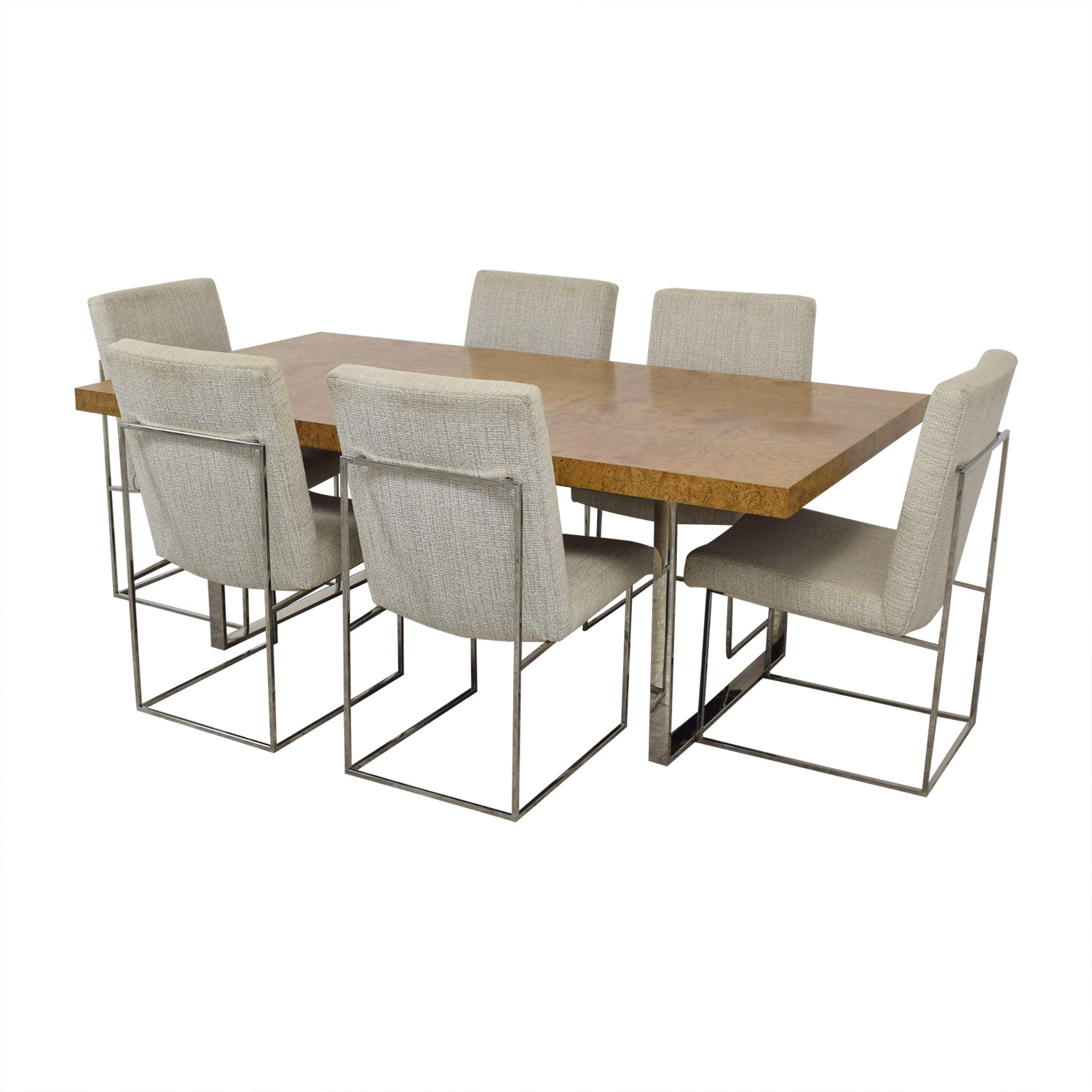 buy Thayer Coggin Thayer Coggin Burl Dining Set with Design Classic Dining Chair by Milo Baughman online