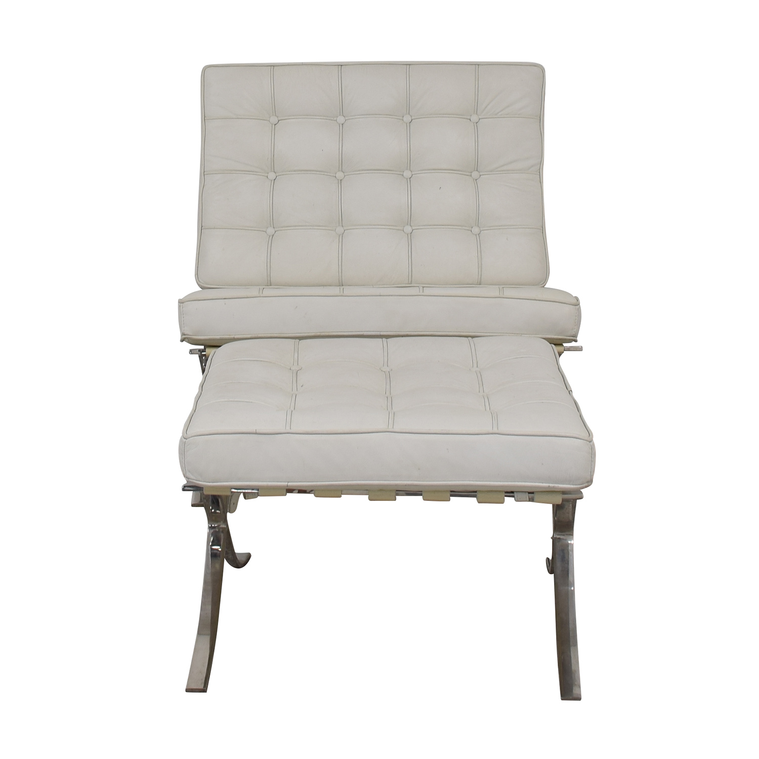 Barcelona Style White Tufted Chair and Ottoman second hand