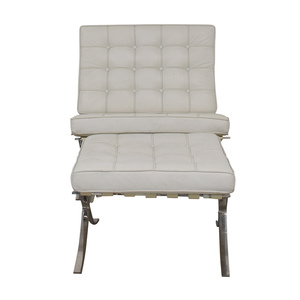 Barcelona Style White Tufted Chair and Ottoman coupon