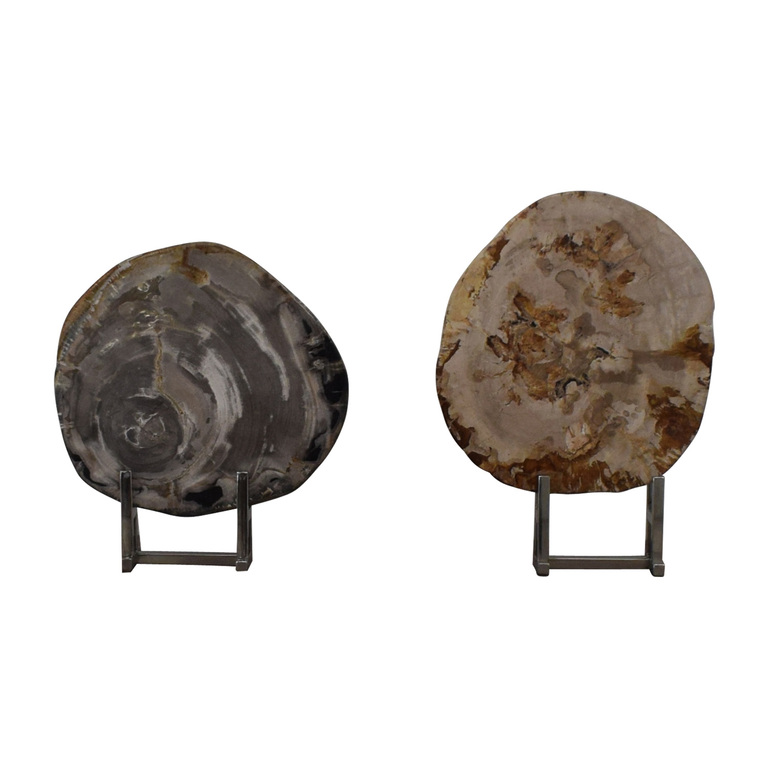 Adrianna Shamaris Stone Objects in Chrome Stands second hand