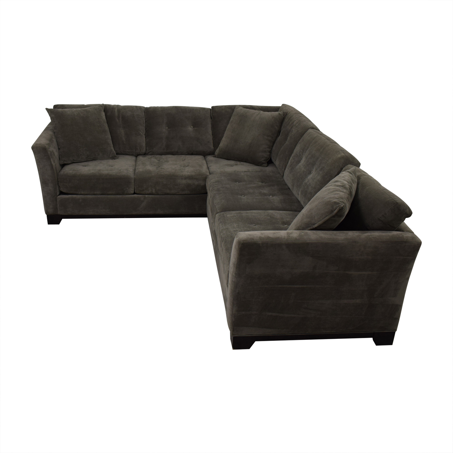 shop Jonathan Louis Tufted Grey Microfiber L-Shaped Sectional Jonathan Louis Sectionals
