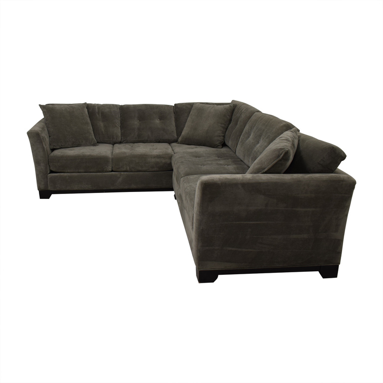 shop Jonathan Louis Tufted Grey Microfiber L-Shaped Sectional Jonathan Louis