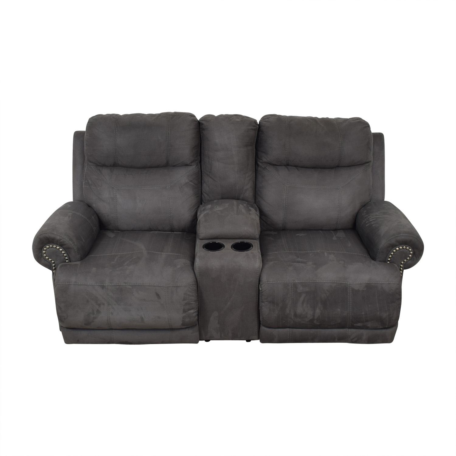 shop Austere Grey Nailhead Reclining Loveseat with Console Austere