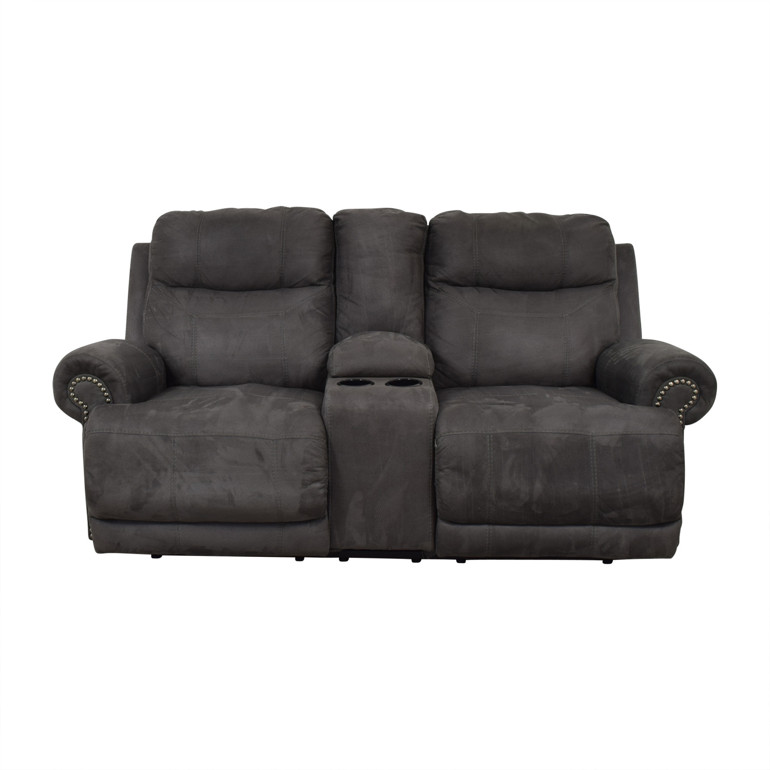 shop Austere Grey Nailhead Reclining Loveseat with Console Austere Loveseats