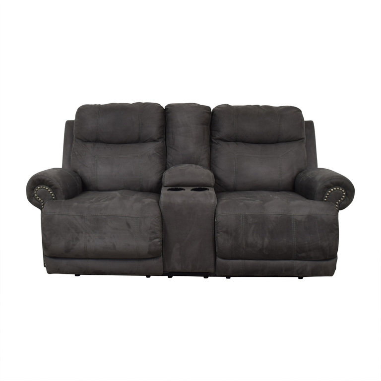 Ashley Furniture Austere Grey Nailhead Reclining Loveseat with Console