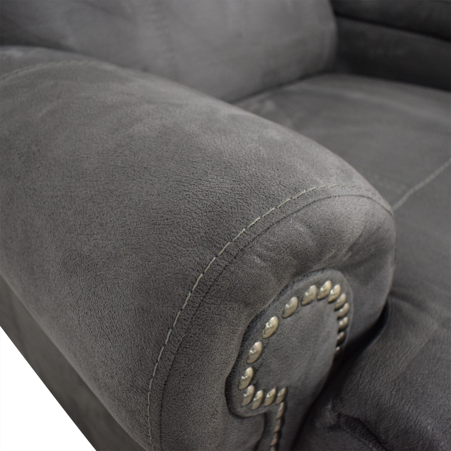 buy Austere Grey Nailhead Reclining Loveseat with Console Austere Sofas