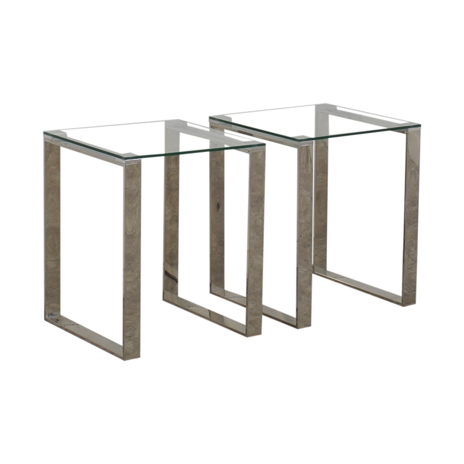 84 Off Chrome And Glass End Tables Tables