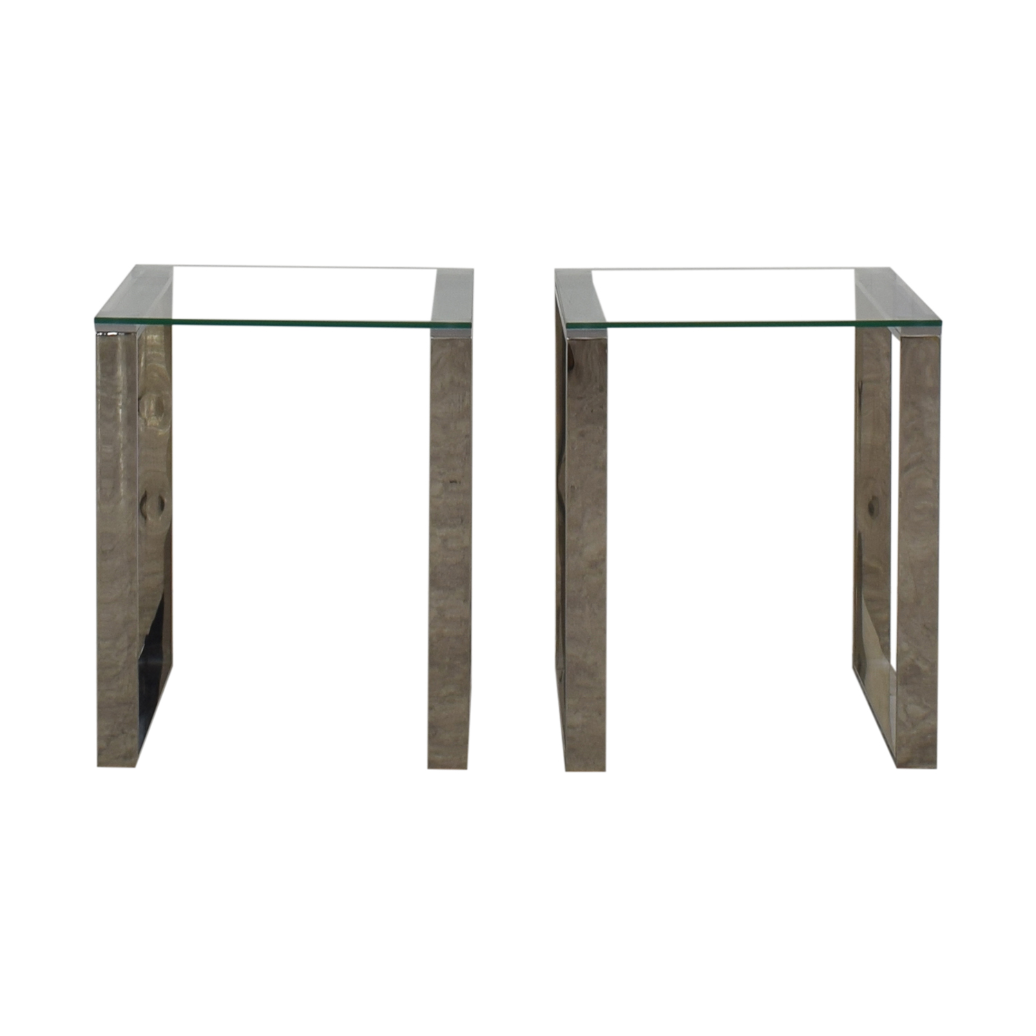 Chrome and Glass End Tables dimensions