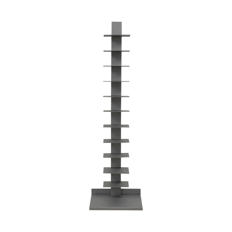 Vertical Grey Metal Bookcase
