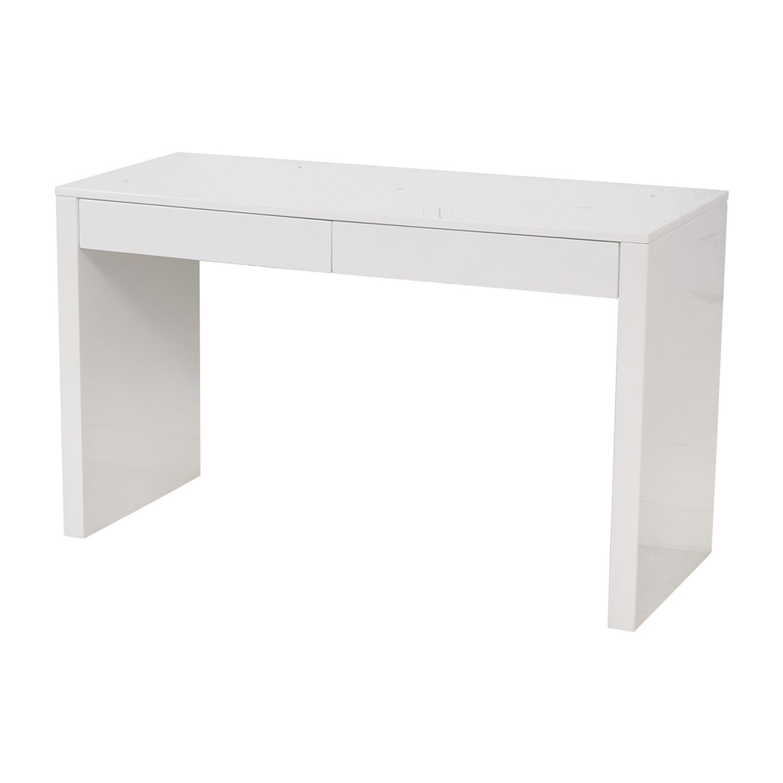 CB2 CB2 Runway White Lacquer Two-Drawer Desk nj