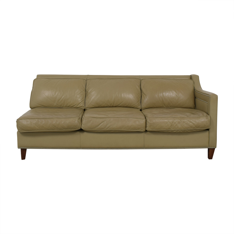 Elite Leather Company Elite Leather Company Beige Single Arm Three-Cushion Sofa dimensions