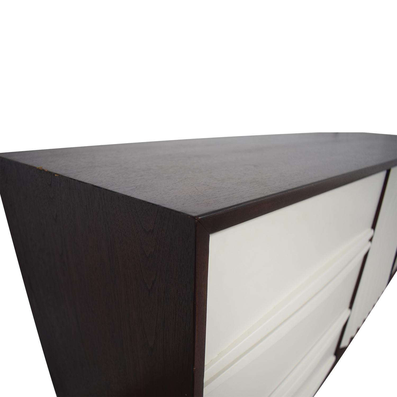 Refurbished Vintage White and Wood Nine-Drawer Dresser