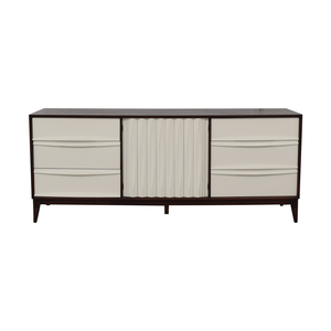 buy  Refurbished Vintage White and Wood Mid Century Nine-Drawer Dresser online
