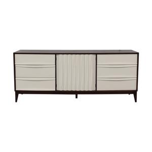 Refurbished Vintage White and Wood Mid Century Nine-Drawer Dresser nj