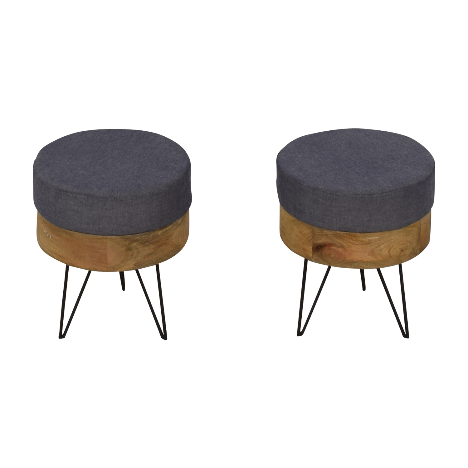 Moe's Home Collection Chambray and Wood Round Stools / Chairs