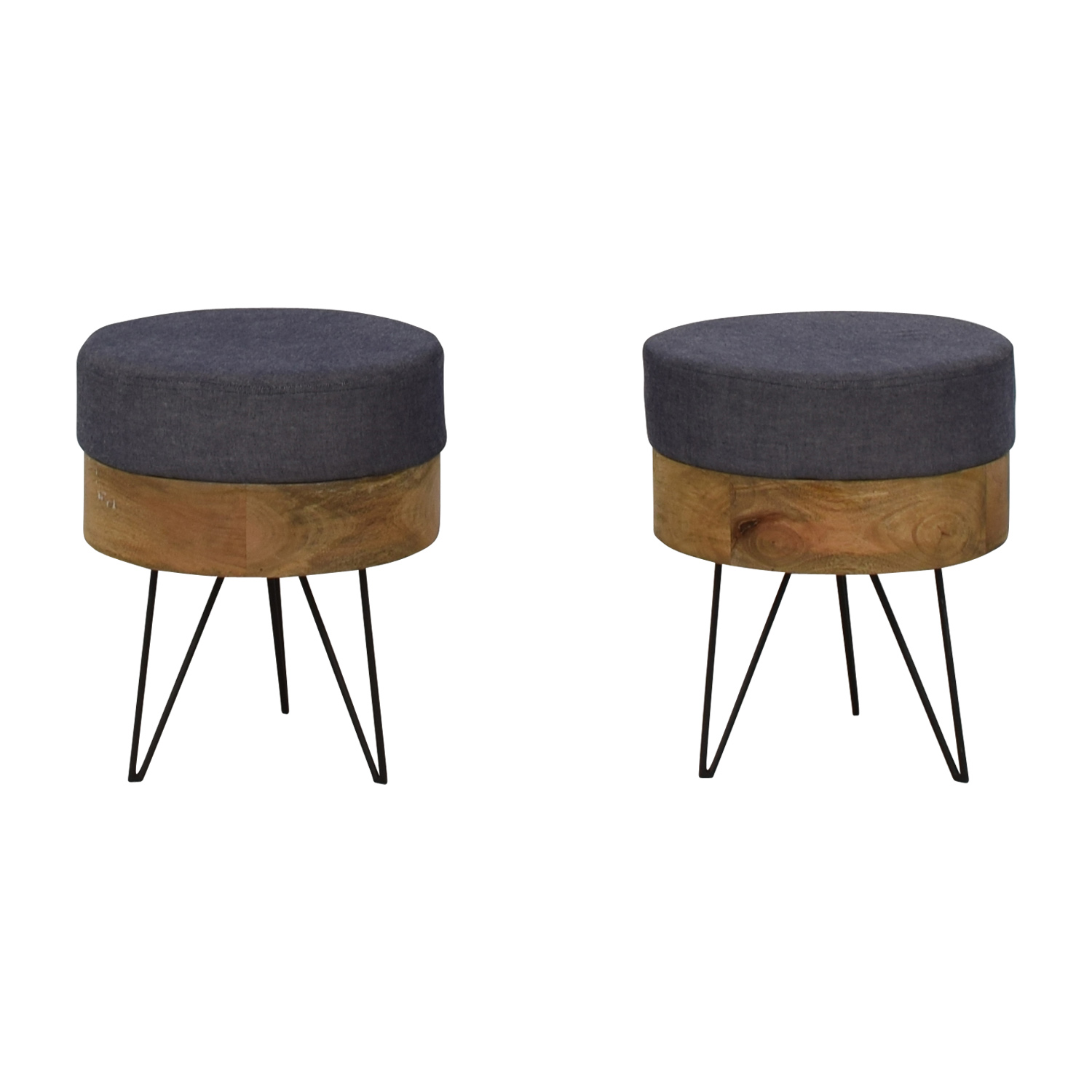buy Moe's Home Collection Chambray and Wood Round Stools Moe's Home