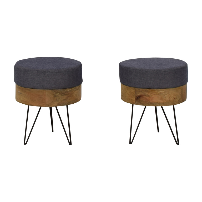 Moe's Home Moe's Home Collection Chambray and Wood Round Stools second hand