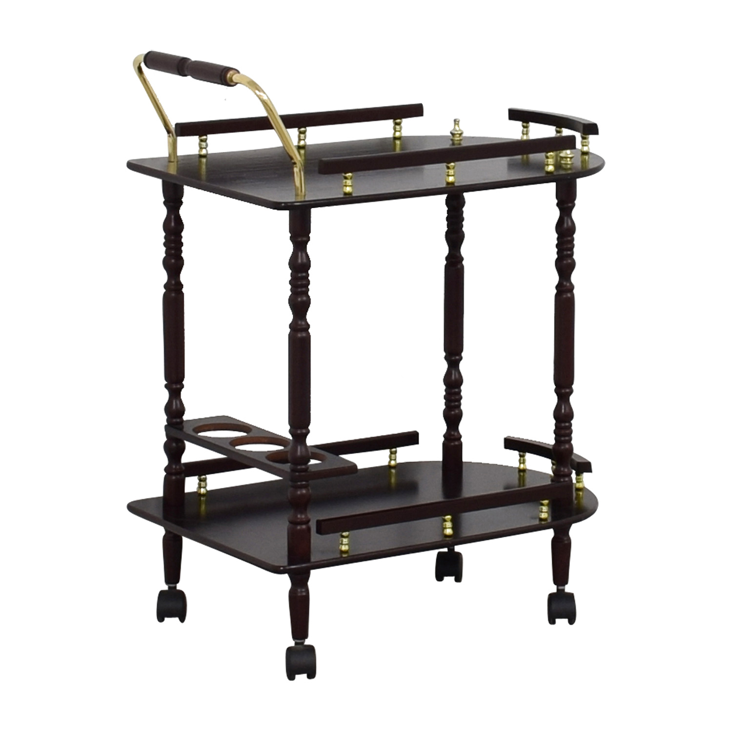 buy Wood Bar Cart on Castors  Utility Tables