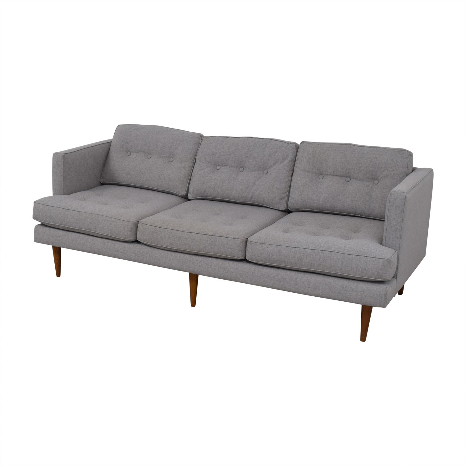 West Elm West Elm Peggy Feather Gray Heathered Crosshatch Tufted Sofa on sale