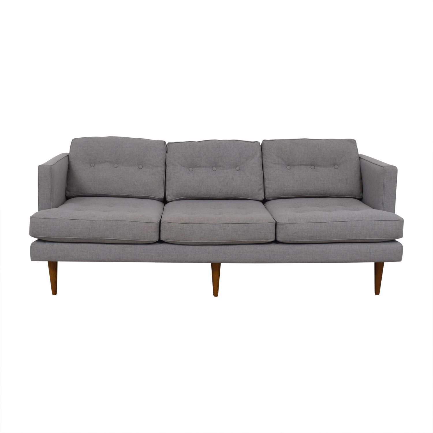 West Elm Peggy Feather Gray Heathered Crosshatch Tufted Sofa sale