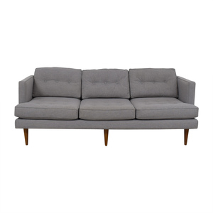 buy West Elm Peggy Feather Gray Heathered Crosshatch Tufted Sofa West Elm Sofas