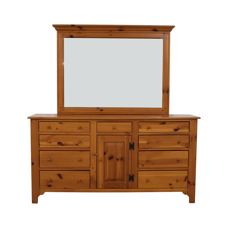 Ethan Allen Ethan Allen Multi-Drawer Dresser with Mirror light brown
