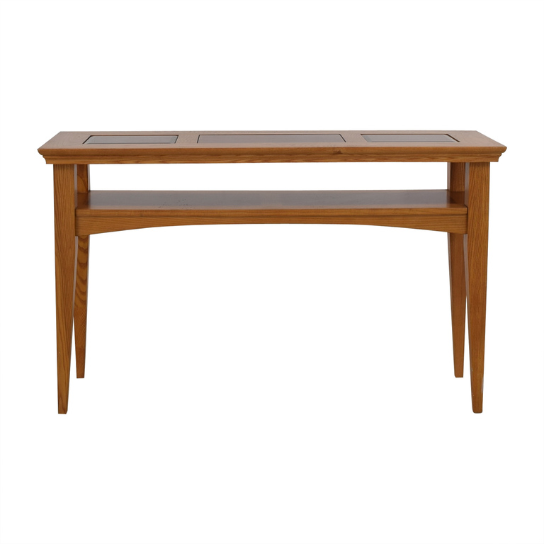 Inlaid Wood and Glass Entryway or Sofa Table