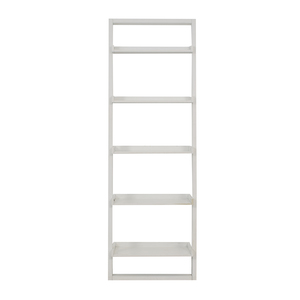 Crate & Barrel Sawyer White Leaning Bookcase sale