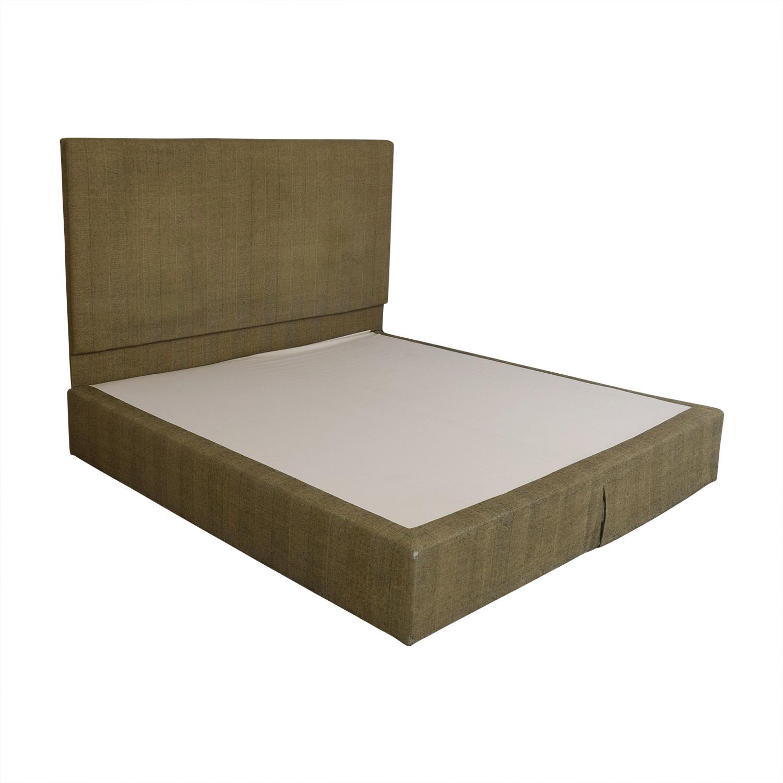 Beige and Black Upholstered Platform King Bed Frame / Bed Frames