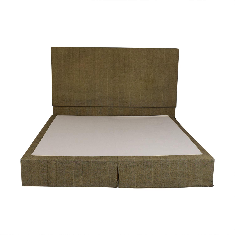 Beige and Black Upholstered Platform King Bed Frame Bed Frames