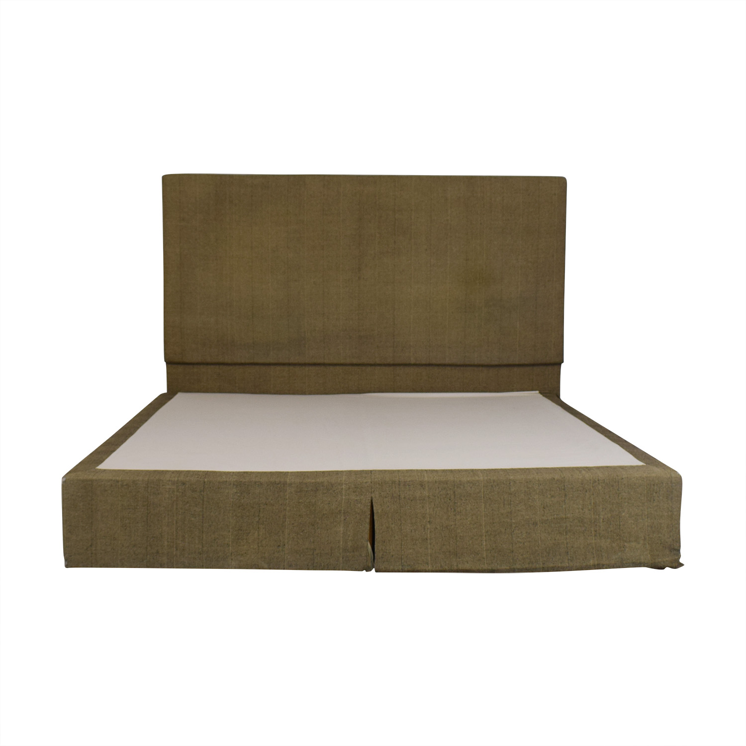 Beige and Black Upholstered Platform King Bed Frame