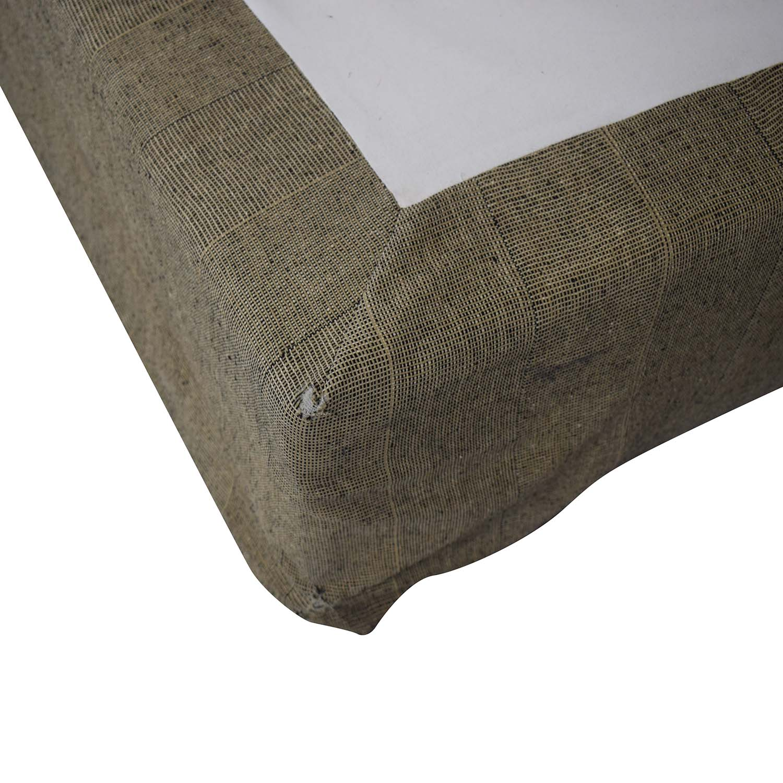 Beige and Black Upholstered Platform King Bed Frame