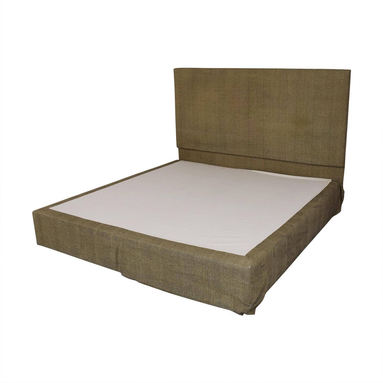 Beige and Black Upholstered Platform King Bed Frame price