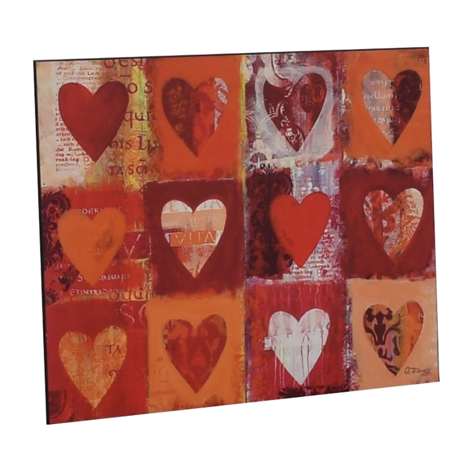Anna Flores Signed Delightful Hearts Wall Art for sale