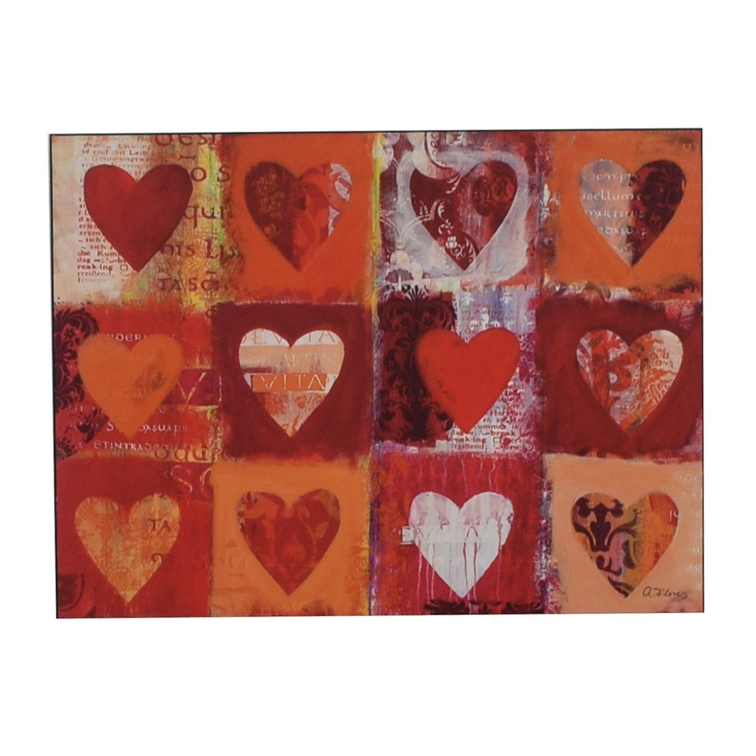 buy Anna Flores Anna Flores Signed Delightful Hearts Wall Art online