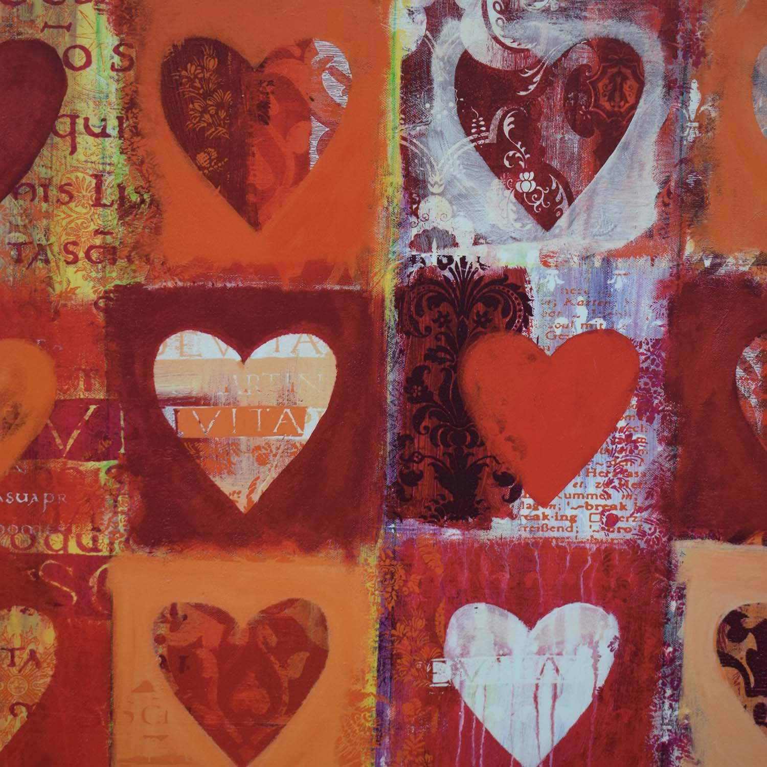 buy  Anna Flores Signed Delightful Hearts Wall Art online