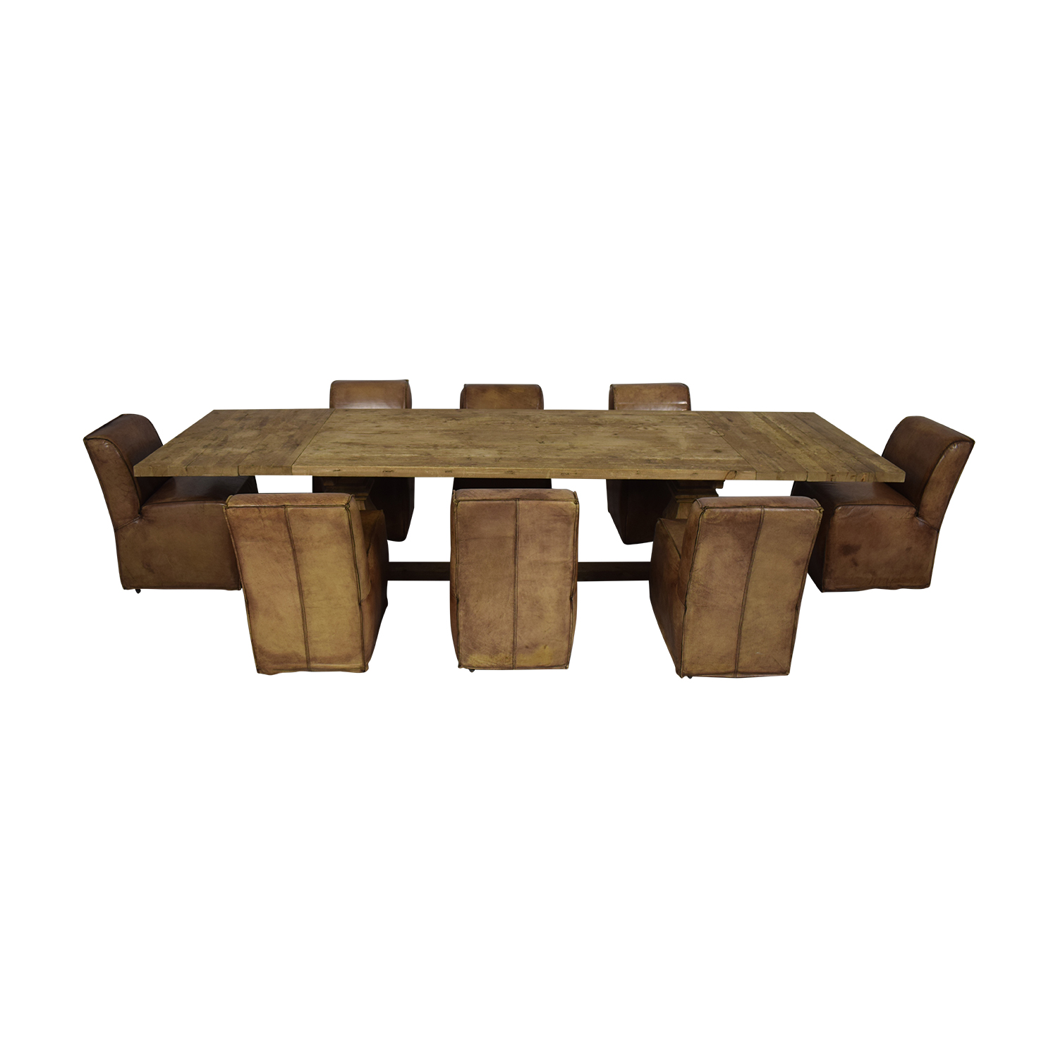 shop Rustic Extendable Table with Tan Chairs  Tables