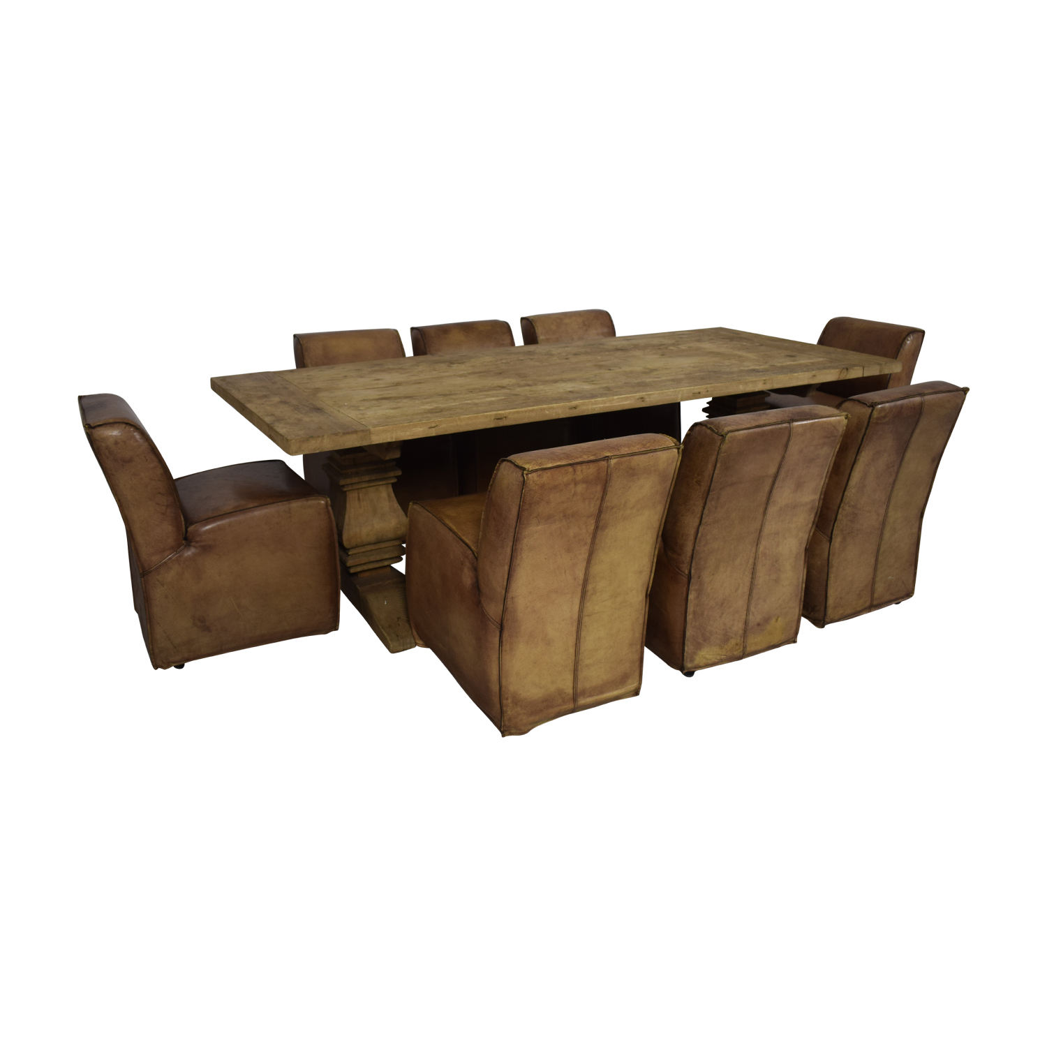 Rustic Extendable Table with Tan Chairs / Tables