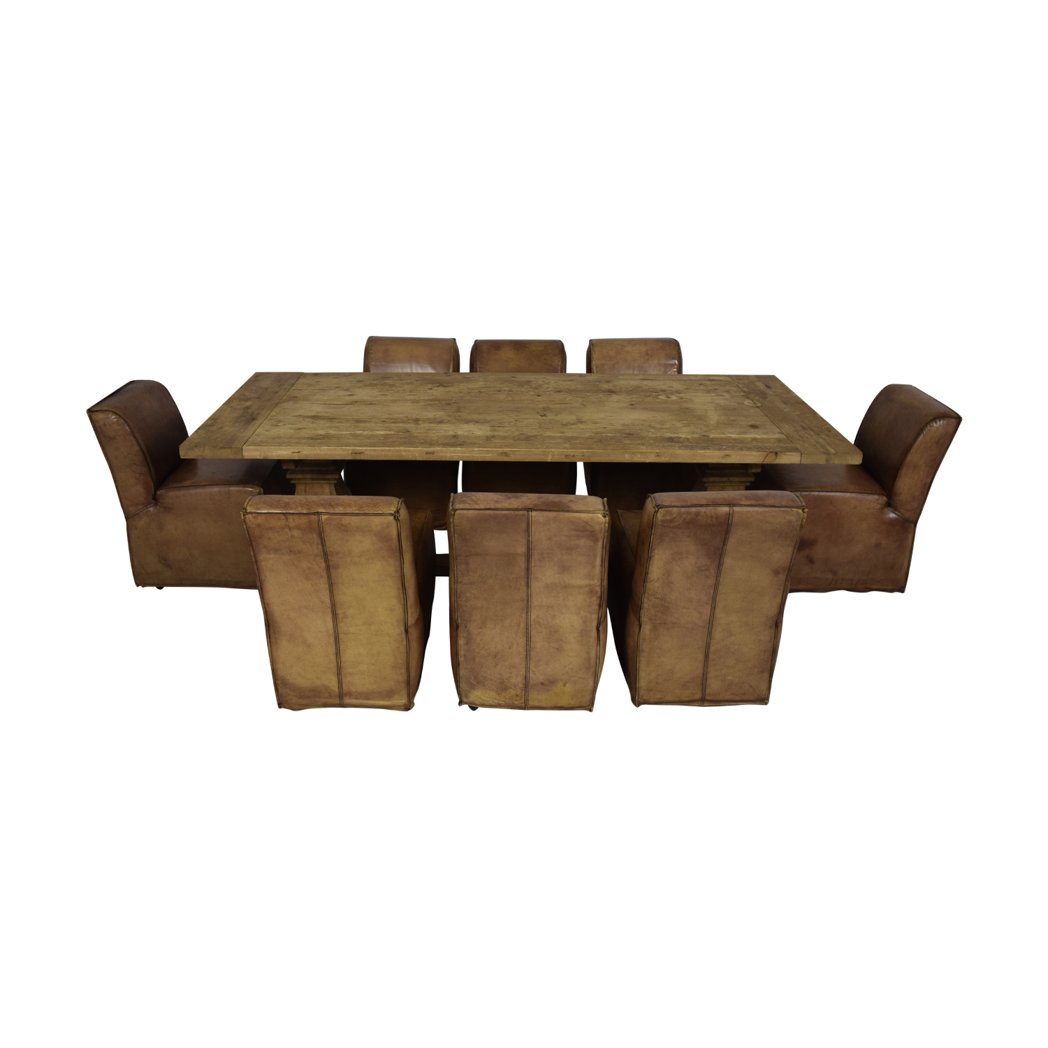 Rustic Extendable Table with Tan Chairs